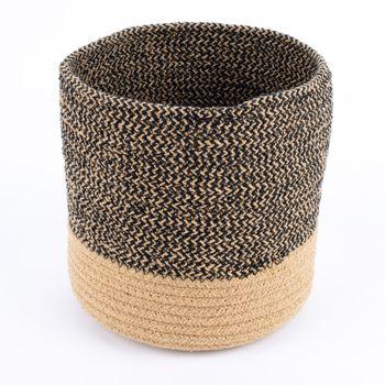 Aufbewahrungskorb geflochten Baumwolle schwarz natur – Bild 5