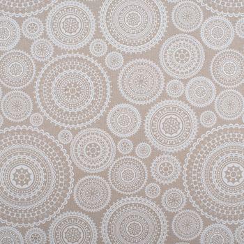 Tischdeckenstoff beschichtete Baumwolle MUNRO Kreise Mandala natur weiß 1,40m Breite – Bild 1
