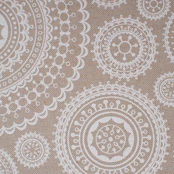 Tischdeckenstoff beschichtete Baumwolle MUNRO Kreise Mandala natur weiß 1,40m Breite – Bild 2