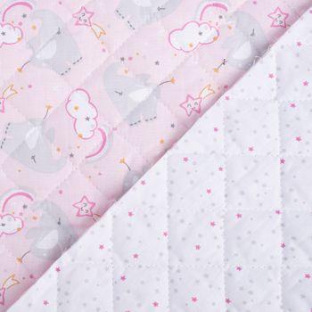 Steppstoff Baumwolle beidseitig Elefant Sterne rosa grau 1,4m Breite – Bild 1