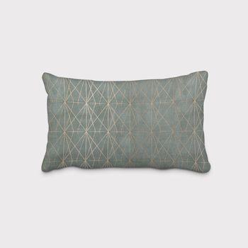 SCHÖNER LEBEN. Kissenhülle geometrisch Gitter tannengrün gold – Bild 1
