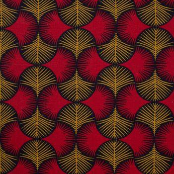 Dekostoff Baumwollstoff Ginkgo Blätter rot ocker schwarz 1,60m Breite – Bild 3