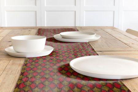 Dekostoff Baumwollstoff Ginkgo Blätter rot ocker schwarz 1,60m Breite – Bild 10