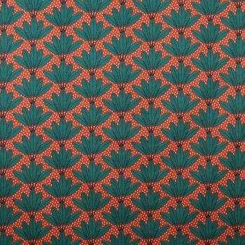Dekostoff Baumwollstoff Palmenblätter Fächer Punkte orange grün schwarz weiß 1,60m Breite – Bild 1