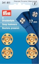 Prym 4 Annäh Druckknöpfe MS 17mm goldfarbig
