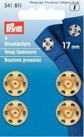 Prym 4 Annäh Druckknöpfe MS 17mm goldfarbig 001