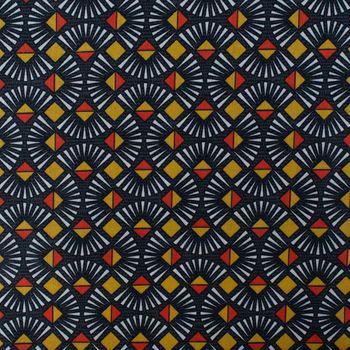 Baumwollstoff Fächer grafisch dunkelgrau gelb orange weiß 1,4m Breite – Bild 1
