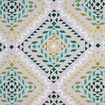 Dekostoff Baumwollstoff geometrisch Dreiecke Vierecke natur weiß grün 1,55m Breite – Bild 3