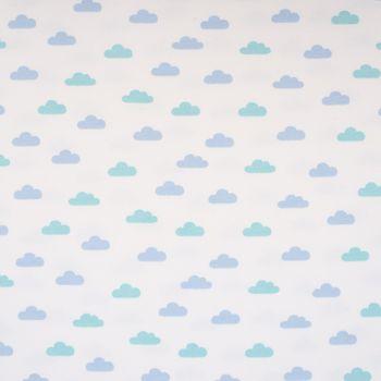 French Terry Sommersweat Wolken weiß blau mint 1,55m – Bild 1