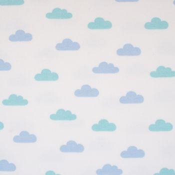 French Terry Sommersweat Wolken weiß blau mint 1,55m – Bild 2