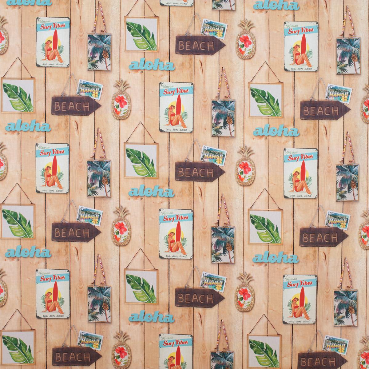 Dekostoff Baumwollstoff Aloha Holzlatten Schilder Beach braun bunt 1,4m Breite