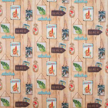 Dekostoff Baumwollstoff Aloha Holzlatten Schilder Beach braun bunt 1,4m Breite – Bild 1