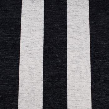 Dekostoff Jacquard Chenille Deluxe Streifen 9cm schwarz weiß 1,4m Breite – Bild 1