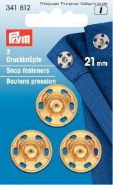 Prym 3 Annäh Druckknöpfe MS 21mm goldfarbig
