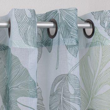 Ösengardine Blättermuster weiß grün Töne 140x260cm – Bild 2