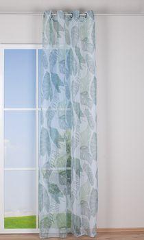 Ösengardine Blättermuster weiß grün Töne 140x260cm – Bild 4