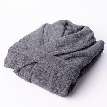 Frottee Bademantel dunkelgrau 100% Baumwolle – Bild 1