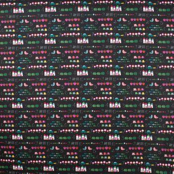 Dekostoff Baumwollstoff Tafel Zählen Auto Blumen Äpfel schwarz weiß bunt 1,6m Breite – Bild 1