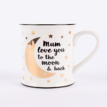 Sass & Belle Tasse Mum love you to the moon & back Porzellan weiß schwarz goldfarbig 9x9,5cm – Bild 1