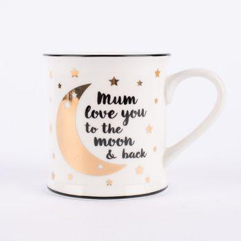 Sass & Bell Tasse Mum love you to the moon & back Porzellan weiß schwarz goldfarbig 9x9,5cm – Bild 1