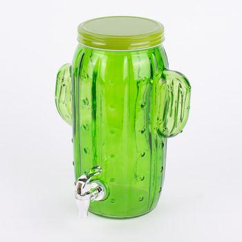 Getränkespender Glas Kaktus grün transparent 4 Liter 15x23x29cm – Bild 1