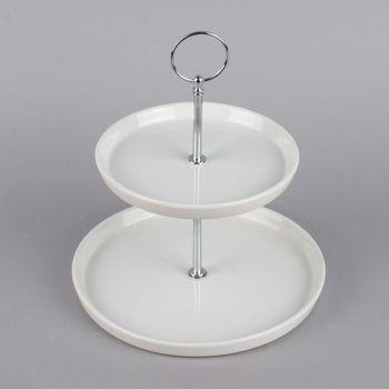 Etagere 2stufig rund Porzellan weiß silberbig 21x21x23cm – Bild 1