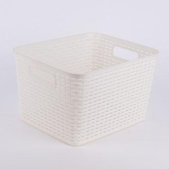 Aufbewahrungskorb geflochten Kunststoff groß 35x29x21cm – Bild 5
