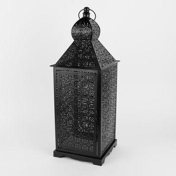 Laterne Blumenornament geometrisch Metall perforiert schwarz – Bild 3