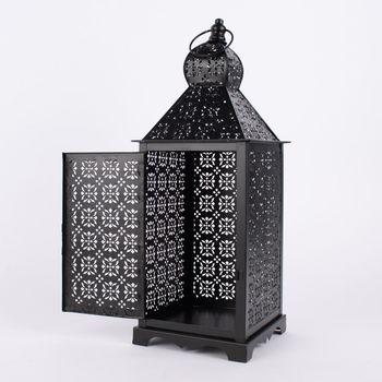 Laterne Blumenornament geometrisch Metall perforiert schwarz – Bild 10