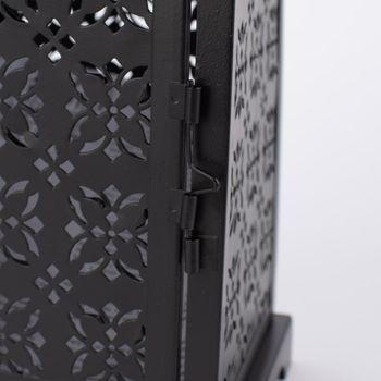 Laterne Blumenornament geometrisch Metall perforiert schwarz – Bild 12