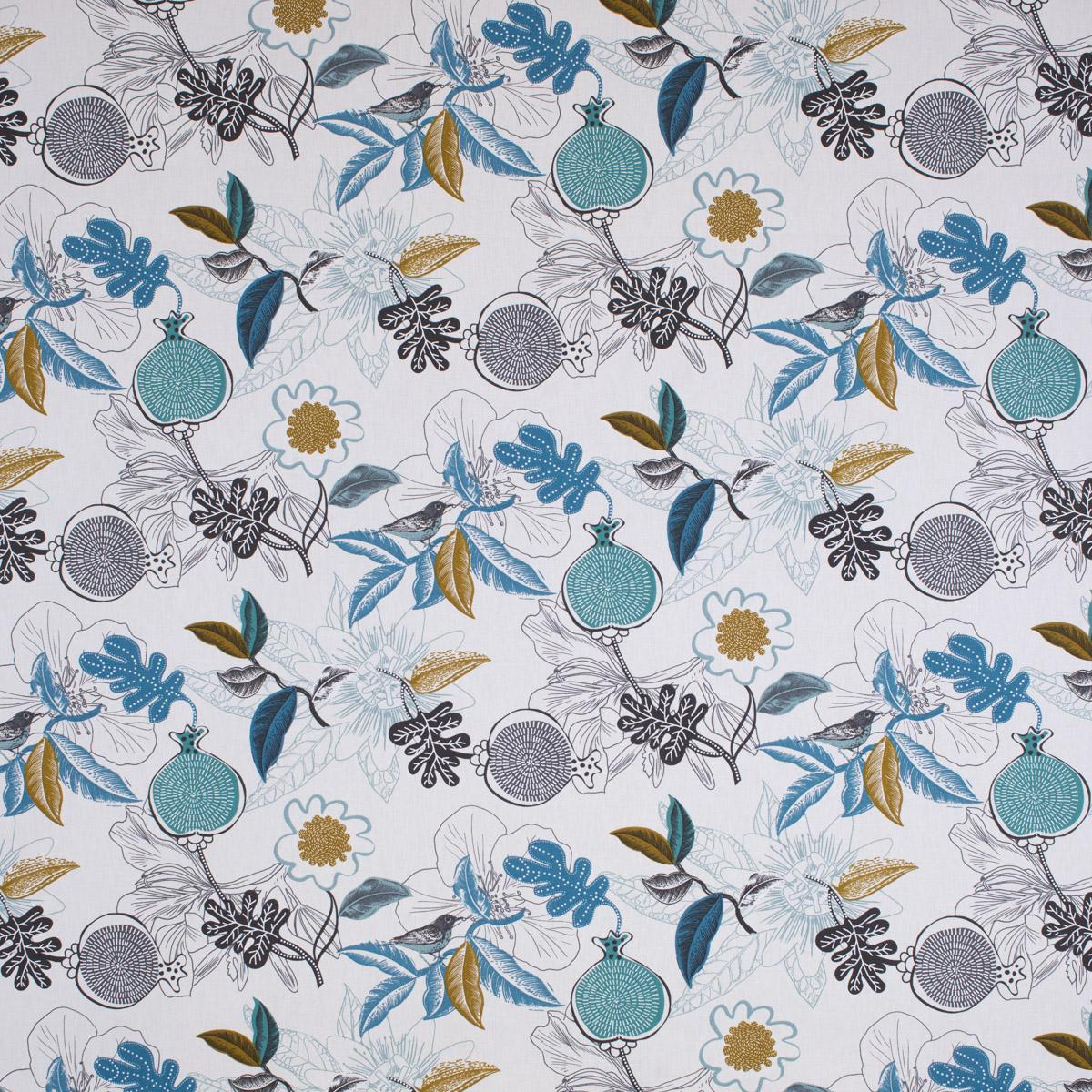 a105b75b4a43d Dekostoff Baumwolle DIVALI Blumen Blüten Blätter Vogel weiß blau khaki grün  schwarz 1