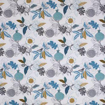 Dekostoff Baumwolle DIVALI Blumen Blüten Blätter Vogel weiß blau khaki grün schwarz 1,5m Breite – Bild 1