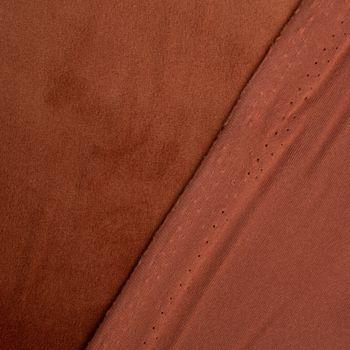 Samtstoff Dekostoff Velvet Samt einfarbig rostbraun 1,4m – Bild 4