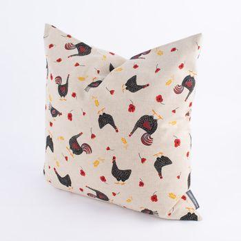 SCHÖNER LEBEN. Kissenhülle Hühner Mohnblume natur rot schwarz – Bild 9