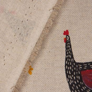 SCHÖNER LEBEN. Tischdecke Hühner Mohnblume natur rot schwarz – Bild 5