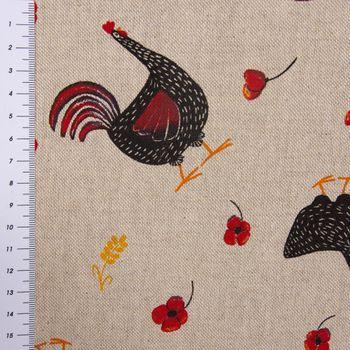 SCHÖNER LEBEN. Vorhang Hühner Mohnblume natur rot schwarz 245cm oder Wunschlänge – Bild 9