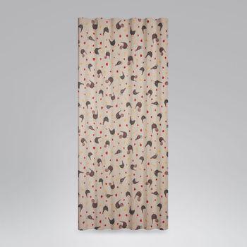SCHÖNER LEBEN. Vorhang Hühner Mohnblume natur rot schwarz 245cm oder Wunschlänge – Bild 4