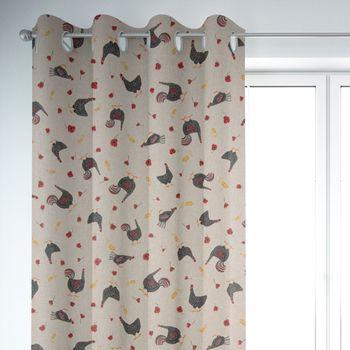SCHÖNER LEBEN. Vorhang Hühner Mohnblume natur rot schwarz 245cm oder Wunschlänge – Bild 6
