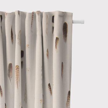 SCHÖNER LEBEN. Vorhang Digitaldruck Federn creme braun 245cm oder Wunschlänge – Bild 2