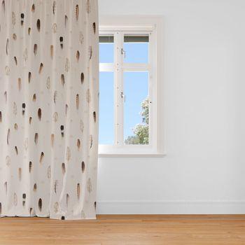 SCHÖNER LEBEN. Vorhang Digitaldruck Federn creme braun 245cm oder Wunschlänge – Bild 1