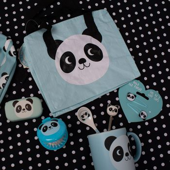 Kinder Rucksack Panda Miko hellblau weiß schwarz 21x10x28cm – Bild 7