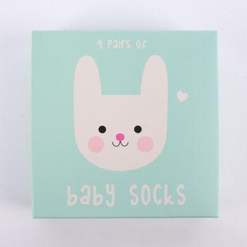 Baby Söckchen Hase Bonnie 4er Set in Geschenkbox pastell 13,5x13,5cm – Bild 2