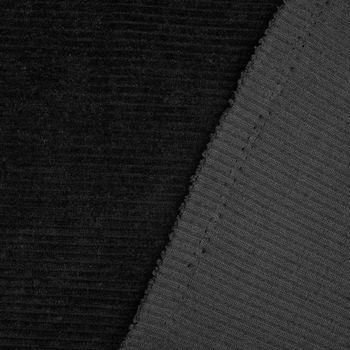 Rippen Jersey Cord Optik einfarbig schwarz 1,60m Breite – Bild 4