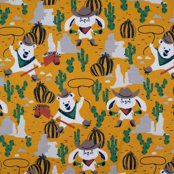 Baumwolljersey Jersey Cowboy Hase Bär Lasso ockergelb beige braun 1,5m Breite – Bild 1