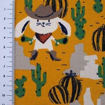Baumwolljersey Jersey Cowboy Hase Bär Lasso ockergelb beige braun 1,5m Breite – Bild 3