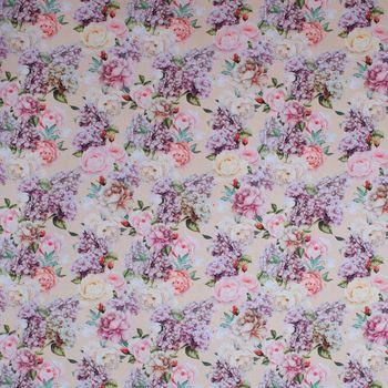 Dekostoff Baumwollstoff Blumen Rosen Lilien beige weiß flieder 1,4m Breite – Bild 1