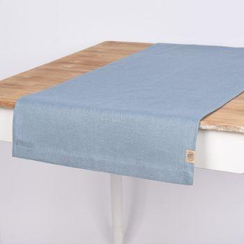 Tischläufer Erik aus 100% Leinen 1-lagig 47x150cm blau – Bild 1