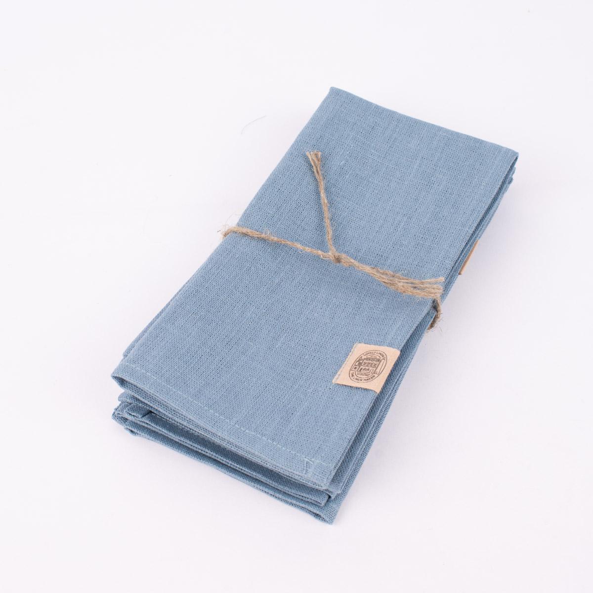 Stoffservietten Erik aus 100% Leinen 4 Stück 44x44cm blau