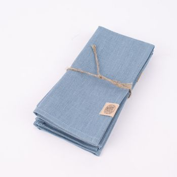 Stoffservietten Erik aus 100% Leinen 4 Stück 44x44cm blau – Bild 1