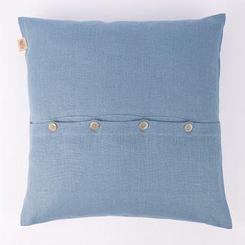 Kissenhülle Erik mit Knopfleiste aus 100 % Leinen 47x47cm blau – Bild 1